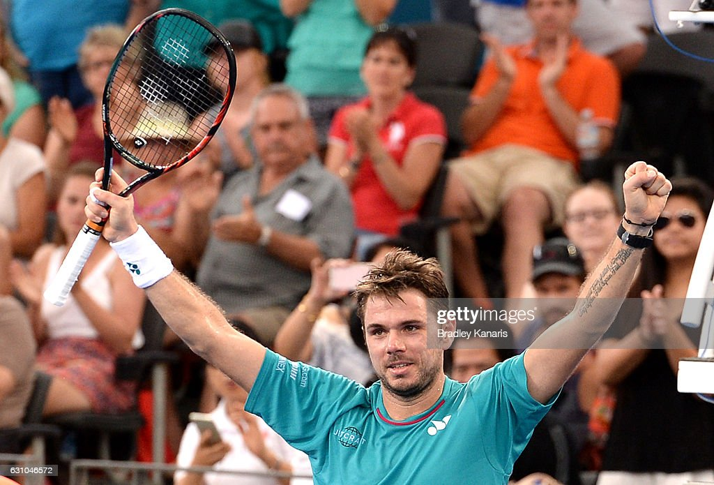 Stan Wawrinka of Switzerland celebrates victory after his match against Kyle Edmund of Great Britain on day six of the 2017 Brisbane International at Pat Rafter Arena on January 6, 2017 in Brisbane, Australia.