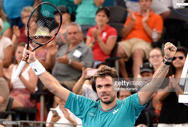 Stan Wawrinka of Switzerland celebrates victory after his match against Kyle Edmund of Great Britain on day six of the 2017 Brisbane International at...