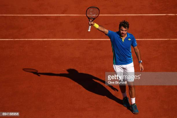 Stan Wawrinka of Switzerland celebrates victory during the men's singles semi final match against Andy Murray of Great Britain on day thirteen of the...