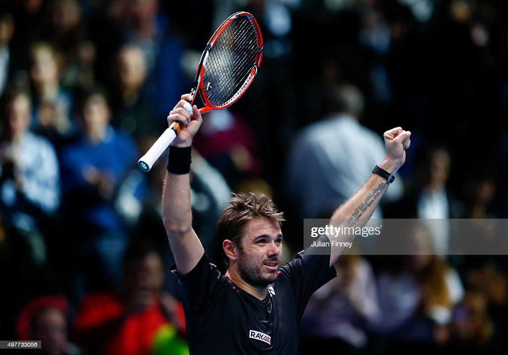 Stan Wawrinka of Switzerland celebrates victory in his men's singles match against David Ferrer of Spain during day four of the Barclays ATP World Tour Finals at the O2 Arena on November 18, 2015 in London, England.