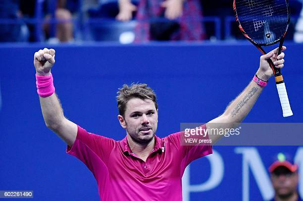 Stan Wawrinka of Switzerland celebrates victory over Kei Nishikori of Japan during their Men's Singles Semifinal Match of the 2016 US Open at the...
