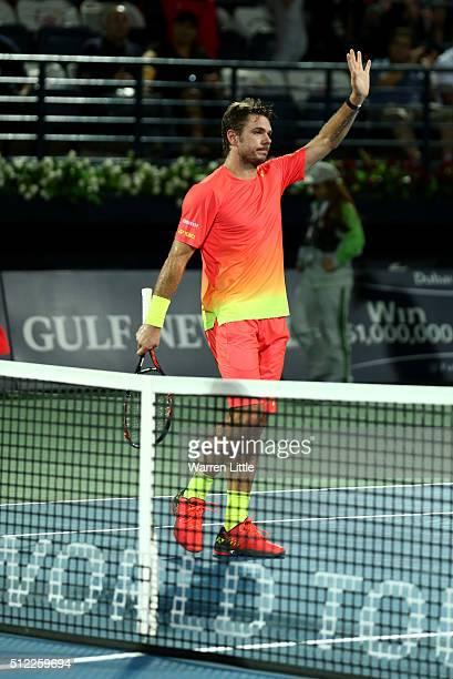 Stan Wawrinka of Switzerland celebrates winning his quarter final match against Philipp Kohlschreiber of Germany on day six of the ATP Dubai Duty...