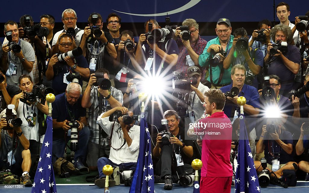 Stan Wawrinka of Switzerland celebrates with the trophy after defeating Novak Djokovic of Serbia with a score of 6-7, 6-4, 7-5, 6-3 during their Men's Singles Final Match on Day Fourteen of the 2016 US Open at the USTA Billie Jean King National Tennis Center on September 11, 2016 in the Flushing neighborhood of the Queens borough of New York City.