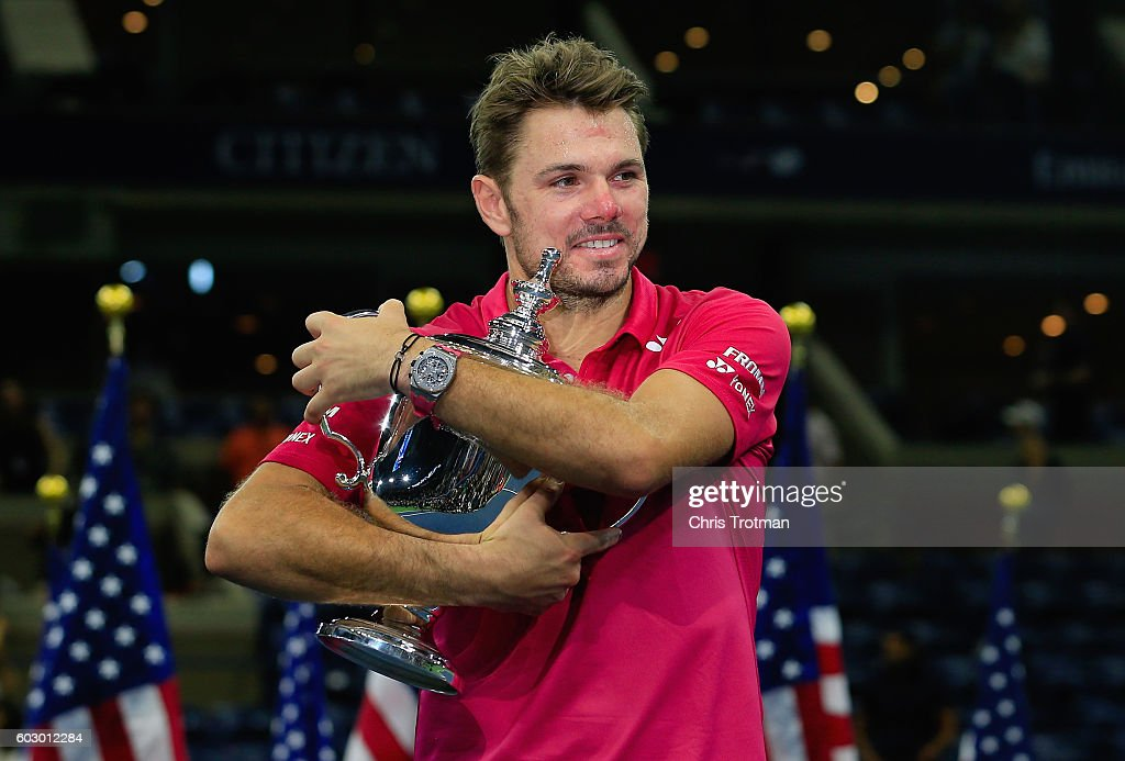 Stan Wawrinka of Switzerland celebrates with the trophy after winning 6-7, 6-4, 7-5, 6-3 against Novak Djokovic of Serbia during their Men's Singles Final Match on Day Fourteen of the 2016 US Open at the USTA Billie Jean King National Tennis Center on September 11, 2016 in the Queens borough of New York City.