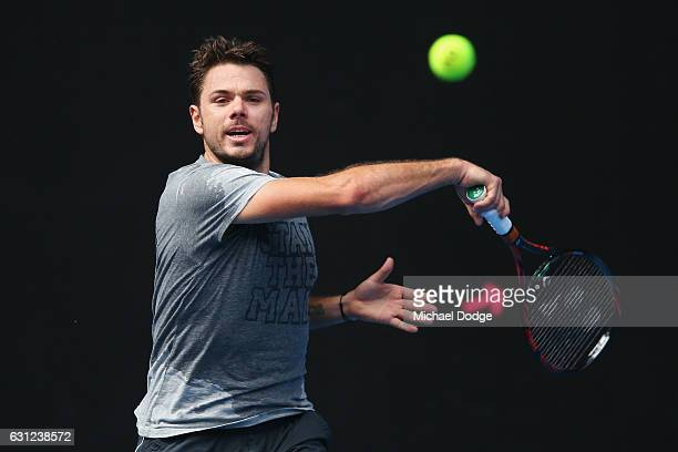 Stan Wawrinka of Switzerland hits a forehand during a practice session ahead of the 2017 Australian Open at Melbourne Park on January 9 2017 in...