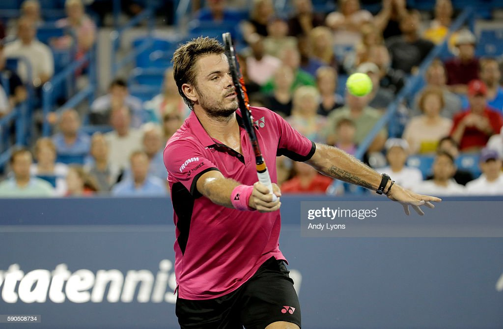 Stan Wawrinka of Switzerland hits a return in his second round match against Jared Donaldson on day 4 of the Western & Southern Open at the Lindner Family Tennis Center on August 16, 2016 in Mason, Ohio.