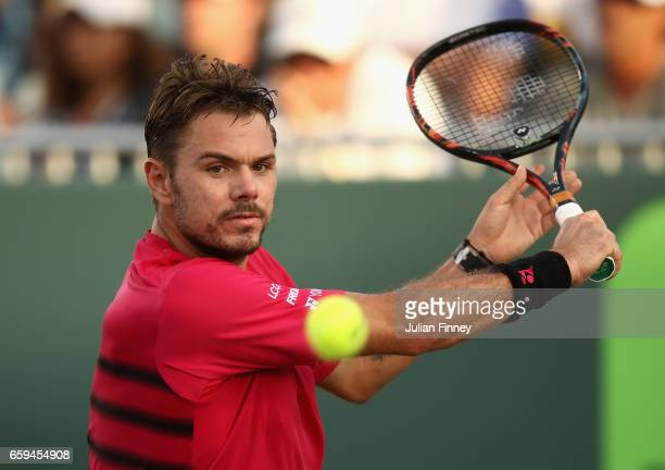 Stan Wawrinka of Switzerland in action against Alexander Zverev of Germany at Crandon Park Tennis Center on March 28 2017 in Key Biscayne Florida