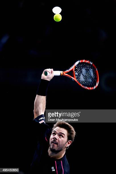Stan Wawrinka of Switzerland in action against Bernard Tomic of Australia during Day 2 of the BNP Paribas Masters held at AccorHotels Arena on...