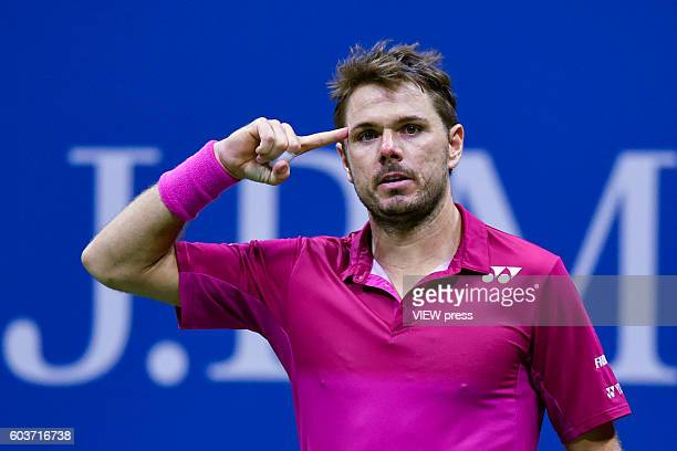 Stan Wawrinka of Switzerland in action against Novak Djokovic of Serbia during their Men's Singles Final Match of the 2016 US Open at the USTA Billie...