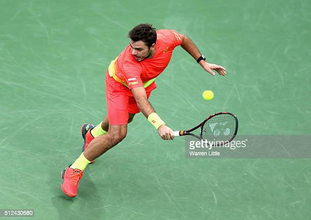 Stan Wawrinka of Switzerland in action during his semi final match against Nick Kyrgios of Australia on day seven of the ATP Dubai Duty Free Tennis...