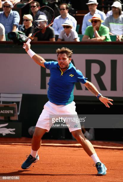 Stan Wawrinka of Switzerland in action during the mens singles final match against Rafael Nadal of Spain on day fifteen of the 2017 French Open at...