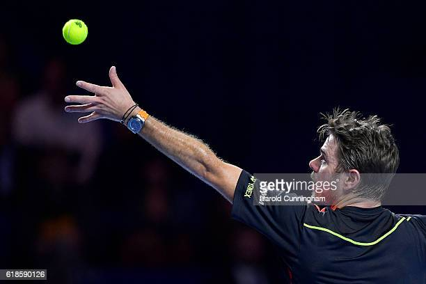 Stan Wawrinka of Switzerland in action during the Swiss Indoors ATP 500 tennis tournament match against Donald Young of USA at St Jakobshalle on...
