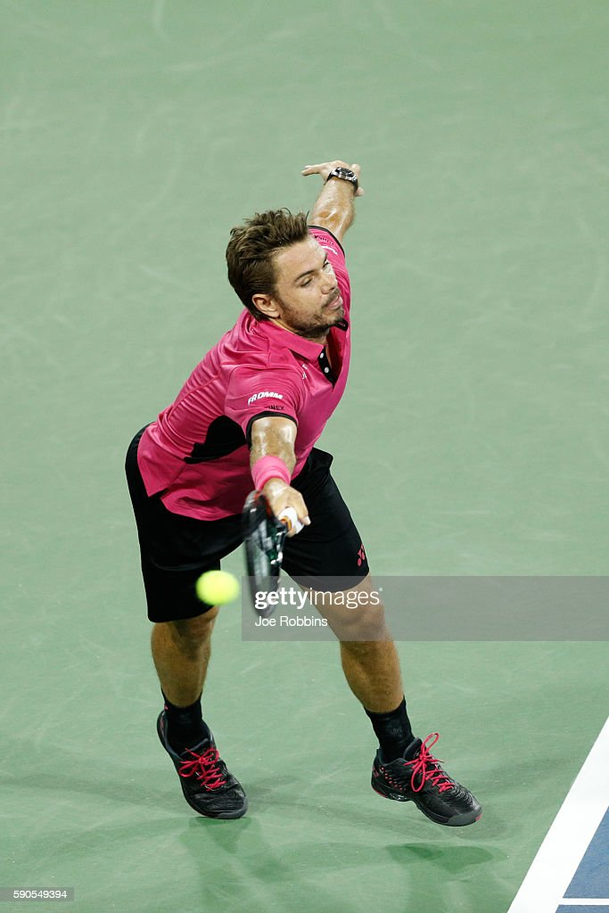 Stan Wawrinka of Switzerland is unable to return a serve from Jared Donaldson of the United States on Day 4 of the Western & Southern Open at the Lindner Family Tennis Center on August 16, 2016 in Mason, Ohio.