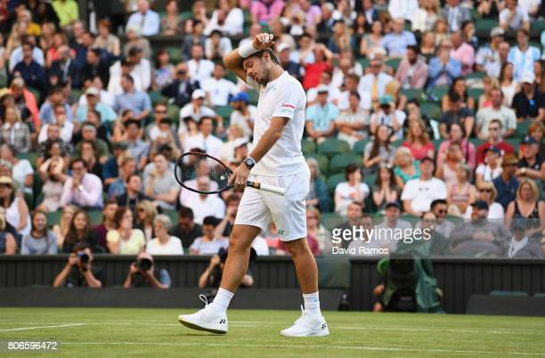 Stan Wawrinka of Switzerland looks dejected during the Gentlemen's Singles first round match against Daniil Medvedev of Russia on day one of the...