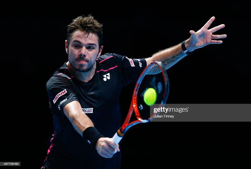 Stan Wawrinka of Switzerland plays a backhand in his men's singles match against David Ferrer of Spain during day four of the Barclays ATP World Tour Finals at the O2 Arena on November 18, 2015 in London, England.