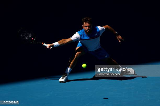 Stan Wawrinka of Switzerland plays a forehand during his Men's Singles Quarterfinal match against Alexander Zverev of Germany on day ten of the 2020...