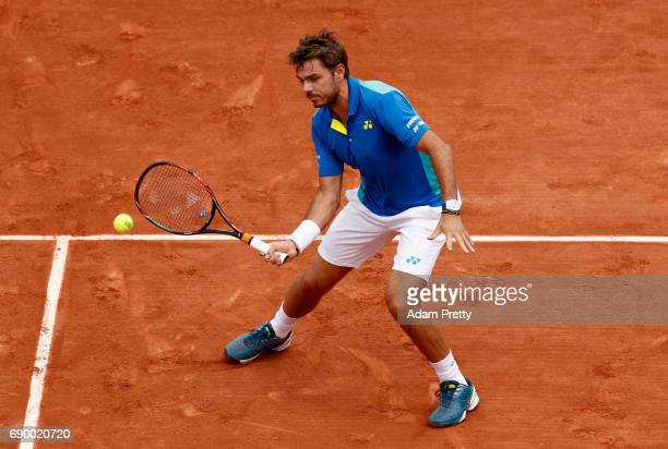 Stan Wawrinka of Switzerland plays a forehand during the mens singles first round match against Jozef Kovalik of Slovaklia on day three of the 2017...