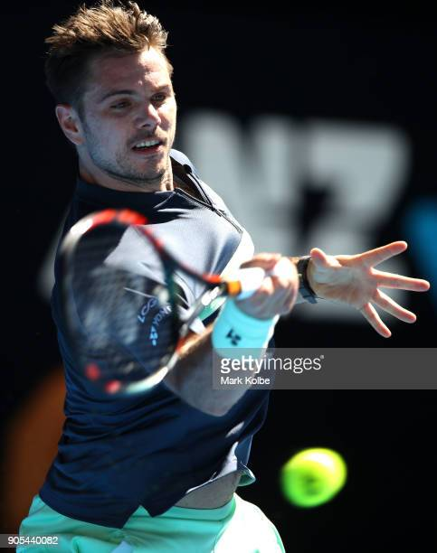 Stan Wawrinka of Switzerland plays a forehand in his first round match against Ricardas Berankis of Lithuania on day two of the 2018 Australian Open...