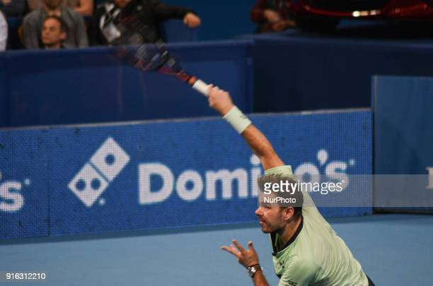 Stan Wawrinka of Switzerland plays a shot in 1/4 final match during DIEMAXTRA Sofia Open 2018 on February 09 at Arena Armeec Hall in the Bulgarian...