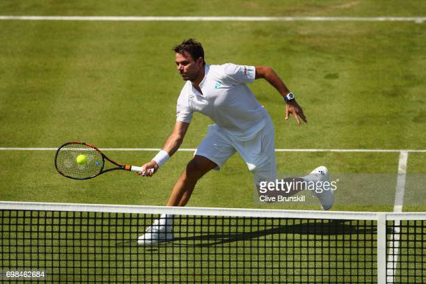 Stan Wawrinka of Switzerland plays a volley during mens singles first round match against Feliciano Lopez of Spain on day two of the 2017 Aegon...