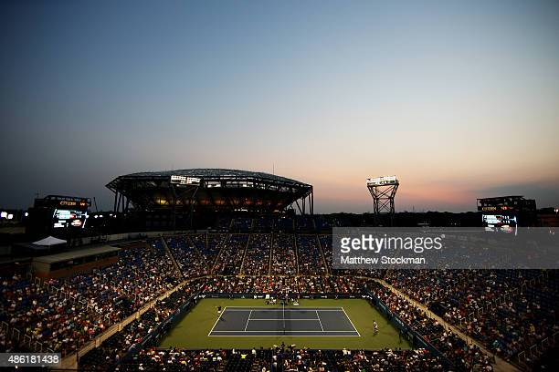 Stan Wawrinka of Switzerland plays against Albert RamosVinolas of Spain during their Men's Singles First Round match on Day Two of the 2015 US Open...