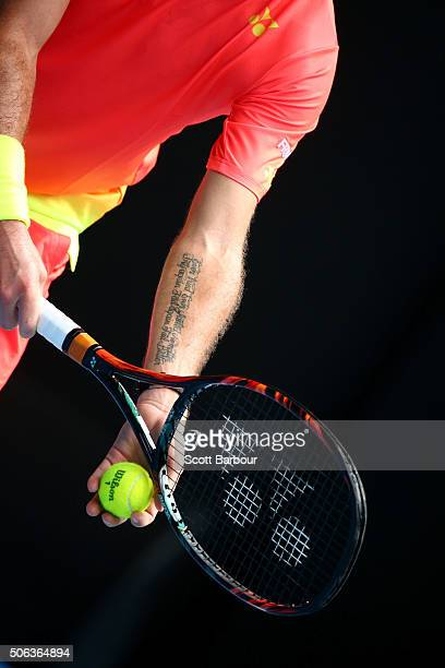Stan Wawrinka of Switzerland prepares to serve in his third round match against Lukas Rosol of the Czech Republic during day six of the 2016...