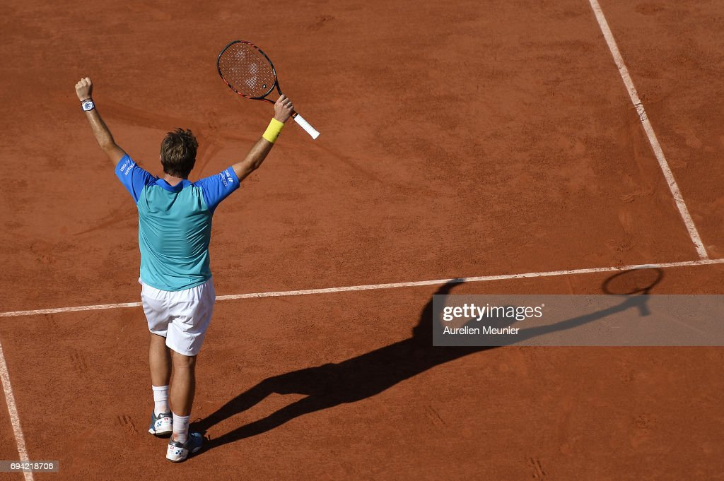 Stan Wawrinka of Switzerland reacts after winning the men's singles semi finals match against Andy Murray of Great Britain on day thirteen of the 2017 French Open at Roland Garros on June 9, 2017 in Paris, France.