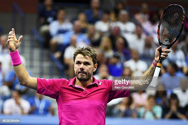 Stan Wawrinka of Switzerland reacts against Novak Djokovic of Serbia during their Men's Singles Final Match on Day Fourteen of the 2016 US Open at...