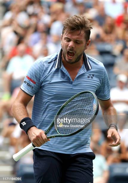 Stan Wawrinka of Switzerland reacts during his Men's Singles third round match against Paolo Lorenzi of Italy on day five of the 2019 US Open at the...