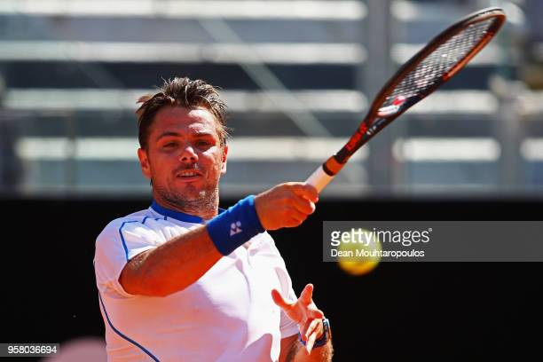Stan Wawrinka of Switzerland returns a forehand against Steve Johnson of the USA during day one of the Internazionali BNL d'Italia 2018 tennis at...