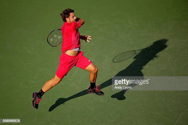 Stan Wawrinka of Switzerland returns a shot to Daniel Evans of Great Britain during his third round Men's Singles match on Day Six of the 2016 US...
