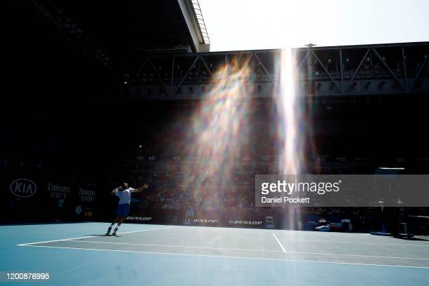 Stan Wawrinka of Switzerland serves during his Men's Singles first round match against Damir Dzumhur of Bosnia and Herzegovina on day two of the 2020...