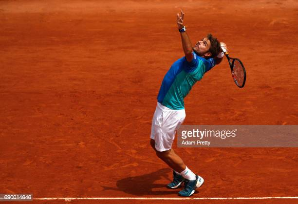 Stan Wawrinka of Switzerland serves during the mens singles first round match against Jozef Kovalik of Slovaklia on day three of the 2017 French Open...