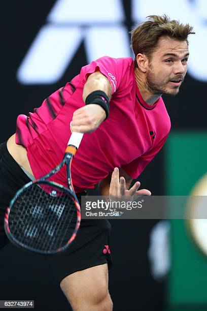 Stan Wawrinka of Switzerland serves in his semifinal match against Roger Federer of Switzerland on day 11 of the 2017 Australian Open at Melbourne...