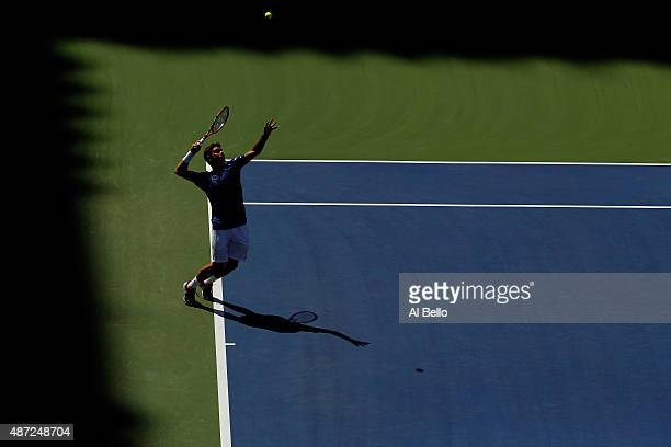 Stan Wawrinka of Switzerland serves to Donald Young of the United States during their Men's Singles Fourth Round match on Day Eight of the 2015 US...