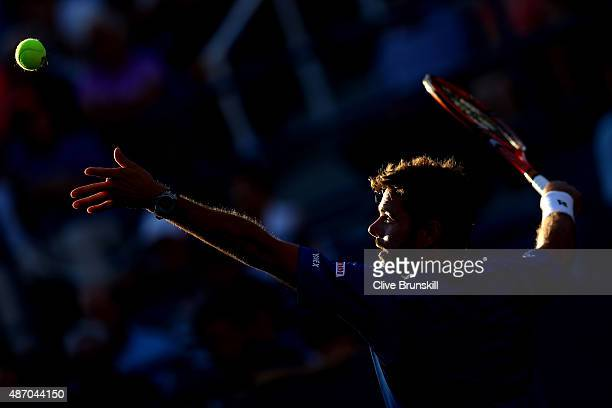 Stan Wawrinka of Switzerland serves to Ruben Bemelmans of Belgium during their Men's Singles Third Round match on Day Six of the 2015 US Open at the...