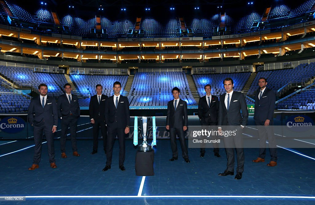L-R Stan Wawrinka of Switzerland,Milos Raonic of Canada,Tomas Berdych of Czech Republic,Novak Djokovic of Serbia,Kei Nishikori of Japan,Andy Murray of Great Britain,Roger Federer of Switzerland and Marin Cilic of Croatia all pose for the mens singles official group shot prior to the start of the Barclays ATP World Tour Finals tennis previews at the O2 Arena on November 7, 2014 in London, England.