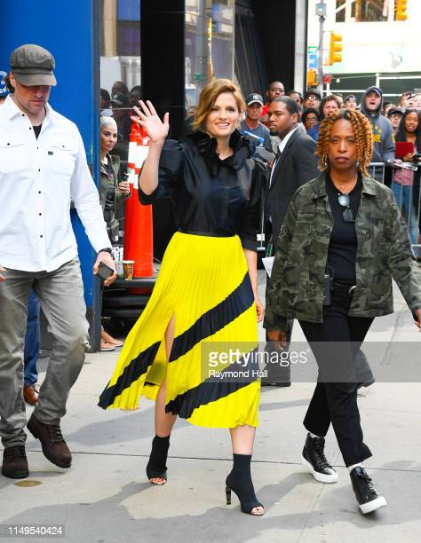 Stana Katic is seen outside Good Morning America on June 12, 2019 in New York City.