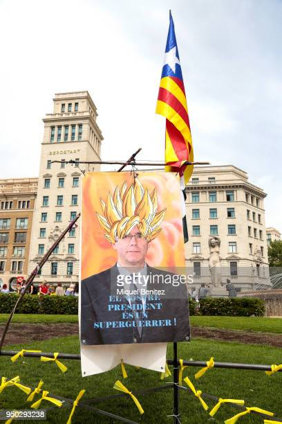 Stand Catalan proindependence shows a banner of Carles Puigdemont as a manga super hero 'Our President is a Super Warrior' 'El Nostre President es un...