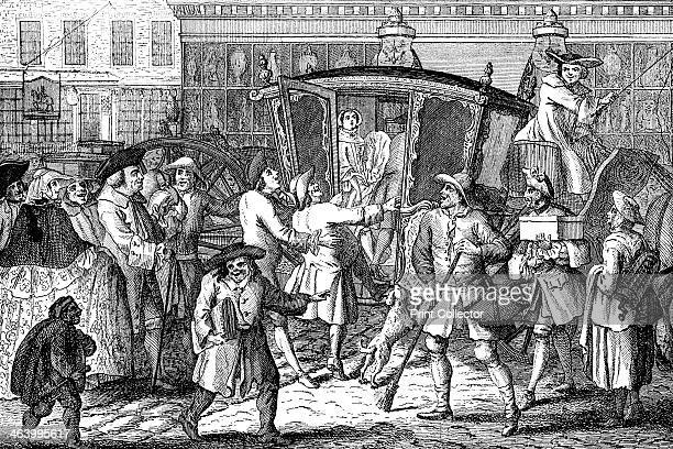 'Stand Coachman or The Haughty Lady Well Fitted' 1750 Illustration from Social Caricature in the Eighteenth Century With over two hundred...