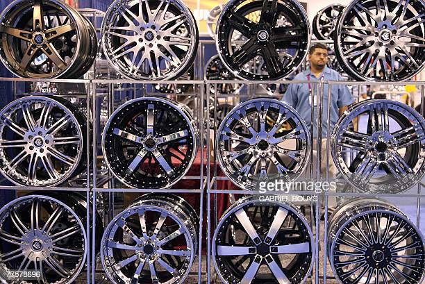 A stand featuring wheel rims is seen at the SEMA show in Las Vegas Nevada 30 October 2007 The Sema show is the largest automotive specialty products...