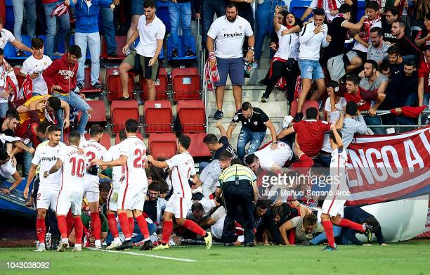 Stand from sevilla fans falls down on ever banegaÕs celebration during the La Liga match between SD Eibar and Sevilla FC at Ipurua Municipal Stadium...