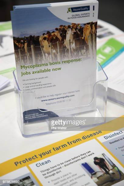 A stand highlights awareness of the Mycoplasma Bovis virus at the Mystery Creek Fieldays on June 14 2018 in Hamilton New Zealand