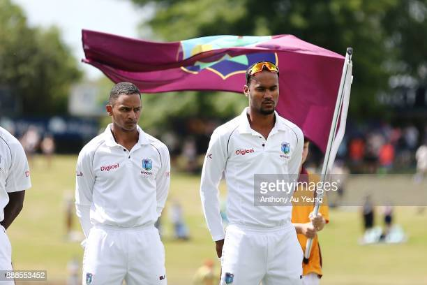 Stand in captain Kraigg Brathwaite of the West Indies stands for the national anthem during day one of the second Test match between New Zealand and...