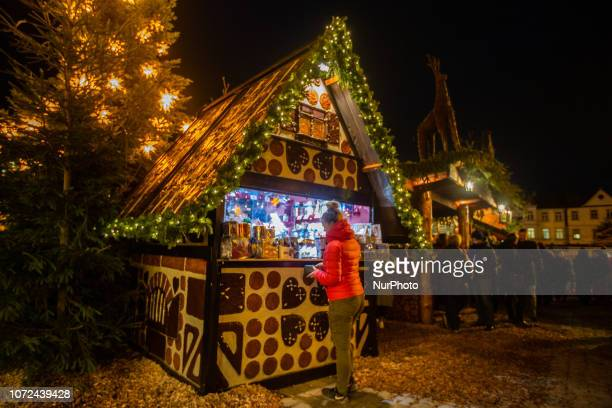 Stand in form of a gingerbread house Christmas Market in Erlangen Bavaria Germany