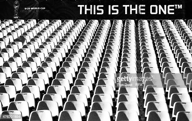 A stand is pictured during the FIFA U20 World Cup New Zealand 2015 Group F match between Honduras and Germany on June 7 2015 in Christchurch New...
