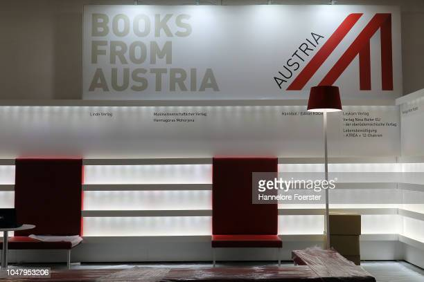 Stand of Austria without books at an exhibitor's stand prior to the opening of the Frankfurt Book Fair on October 9, 2018 in Frankfurt, Germany....