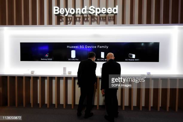 L´HOSPITALET CATALONIA SPAIN Stand of Huawei brand seen during the Mobile World Congress 2019 in Barcelona