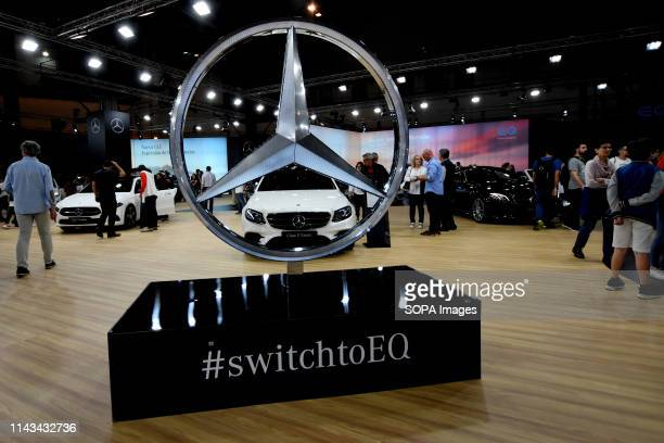 Stand of the Mercedes car brand with a huge Mercedes logo at the Automobile Trade Fair 2019 in Barcelona