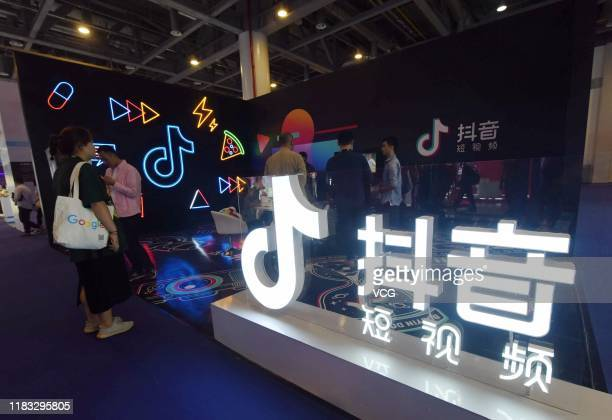 A stand of TikTok is pictured at The First International Artificial Products Expo Hangzhou on October 18 2019 in Hangzhou Zhejiang Province of China